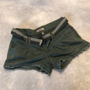 Green Cargo Shorts with Belt